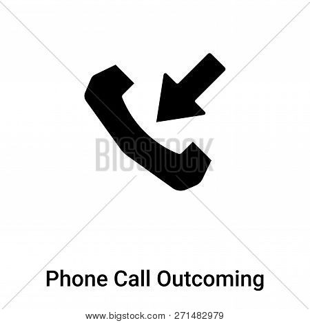 Phone Call Outcoming Icon In Trendy Design Style. Phone Call Outcoming Icon Isolated On White Backgr
