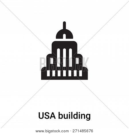 Usa Building Icon In Trendy Design Style. Usa Building Icon Isolated On White Background. Usa Buildi