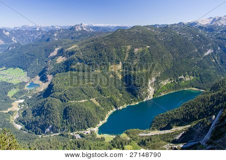alpine lake scenery in the summer poster