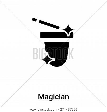 Magician Icon In Trendy Design Style. Magician Icon Isolated On White Background. Magician Vector Ic