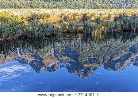 The Mirror Lakes In Te Anau-milford Hwy, Fiordland National Park, New Zealand.