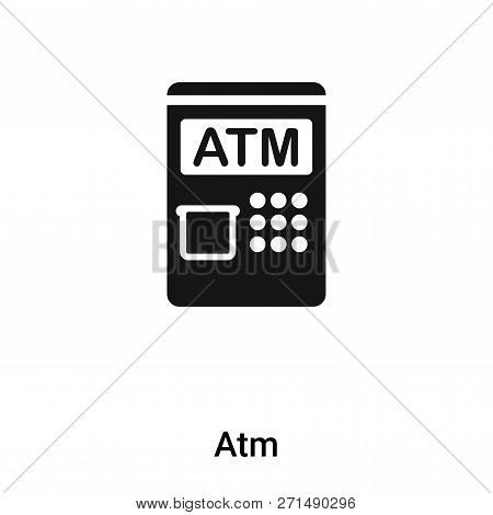 Atm Icon In Trendy Design Style. Atm Icon Isolated On White Background. Atm Vector Icon Simple And M