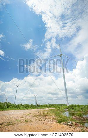 Wind Turbine Close To Seaside In Pak Phanang, Nakhon Si Thammarat, Thailand.
