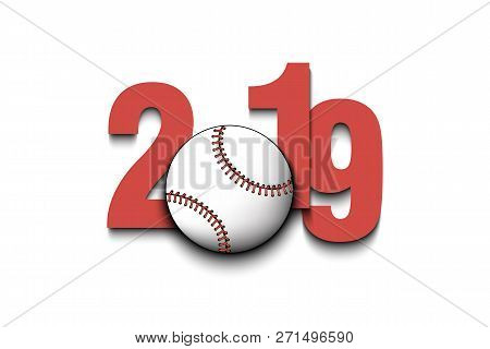 New Year Numbers 2019 And Baseball Ball On An Isolated Background. Creative Design Pattern For Greet