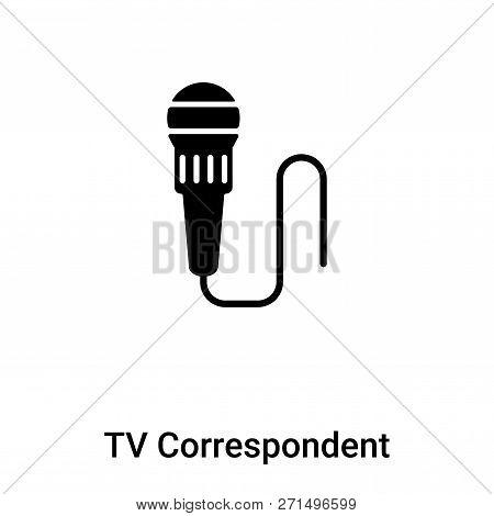 Tv Correspondent Icon In Trendy Design Style. Tv Correspondent Icon Isolated On White Background. Tv
