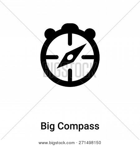 Big Compass Icon In Trendy Design Style. Big Compass Icon Isolated On White Background. Big Compass