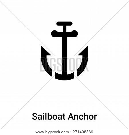 Sailboat Anchor Icon In Trendy Design Style. Sailboat Anchor Icon Isolated On White Background. Sail