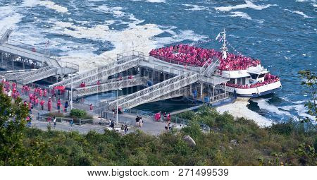 Niagara Falls, Ontario, September 24, 2017 - Horizontal Close Up Of The Hornblower Tour Boat Loading
