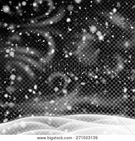 Transparent Background With Winter Landscape, Snow And Blizzard.