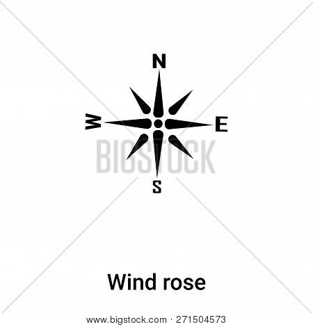 Wind Rose Icon In Trendy Design Style. Wind Rose Icon Isolated On White Background. Wind Rose Vector