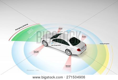 Autonomous Self-driving Electric Car Showing Lidar, Radar Safety Sensors, Smart Car, 3d Rendering.