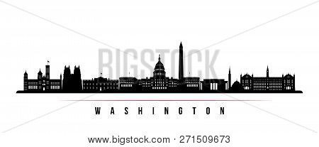 Washington City Skyline Horizontal Banner. Black And White Silhouette Of Washington. Vector Template