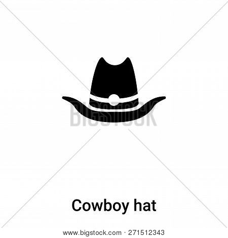 Cowboy Hat Icon In Trendy Design Style. Cowboy Hat Icon Isolated On White Background. Cowboy Hat Vec