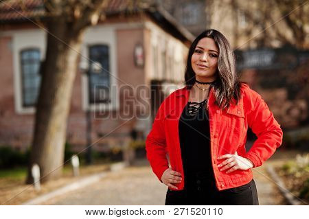 Pretty Latino Model Girl From Ecuador Wear On Black And Red Jacket Posed At Street.