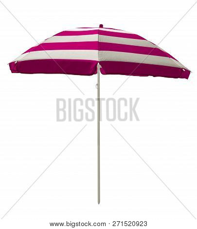Pink Striped Beach Umbrella Isolated On White. Clipping Path Included.