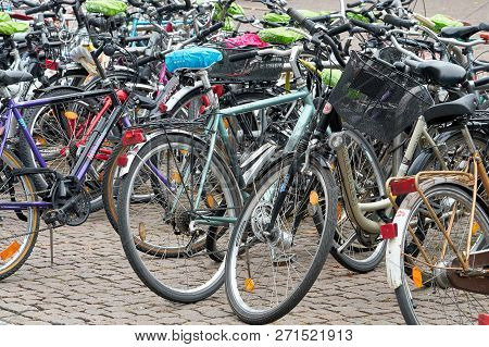Leipzig, Germany - October 08, 2018: Bicycles Of Students At The Campus Of The University In Downtow