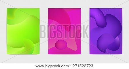 Three Poster Templates. Trend Vivid Colors. Set Of Modern Abstract Liquid Backgrounds. Abstract Cove