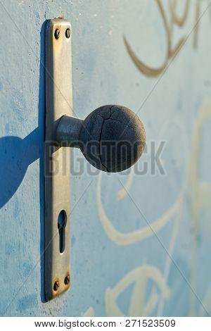 Doorknob On A Steel Door In The Harbor Of Magdeburg