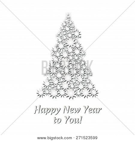 Christmas Catd With White Firtree Made From Stars On White Background, Vector Illustration