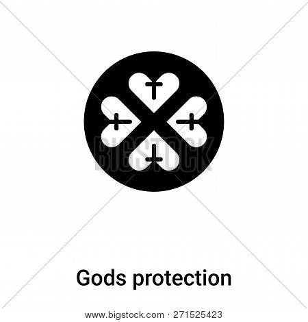 Gods Protection Icon In Trendy Design Style. Gods Protection Icon Isolated On White Background. Gods
