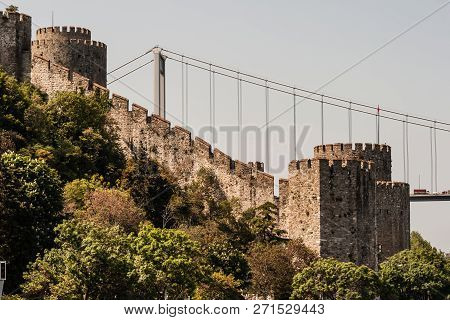 Istanbul, Turkey - May 12, 2010: Ancient Castle Rumeli Fortress And Towers