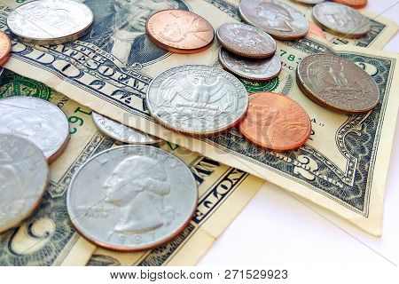 Close Up American Quarter, Dime And Penny Coins On Dollars Usa Background