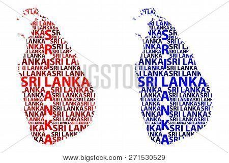 Sketch Sri Lanka Letter Text Map, Democratic Socialist Republic Of Sri Lanka - In The Shape Of The C
