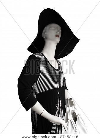 Mannequin With Large Hat And Black And White Dress