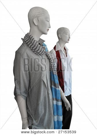 Mannequins Wearing Shirts And Scarves