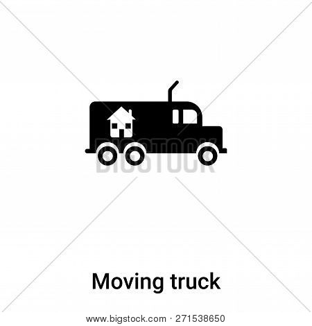 Moving Truck Icon In Trendy Design Style. Moving Truck Icon Isolated On White Background. Moving Tru
