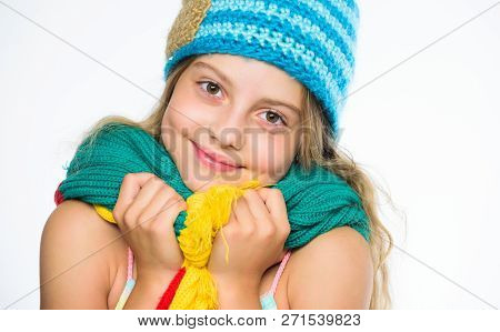 Hat And Scarf Keep Warm. Kid Wear Warm Soft Knitted Blue Hat And Long Scarf. Warm Woolen Accessories
