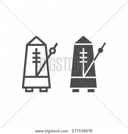 Metronome Line And Glyph Icon, Musical And Tempo, Equipment Sign, Vector Graphics, A Linear Pattern