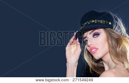 Fashion Model Woman In Cap Or Hat. Sensual Woman In Fashionable Cap. Sexy Girl With Pink Lips, Brigh