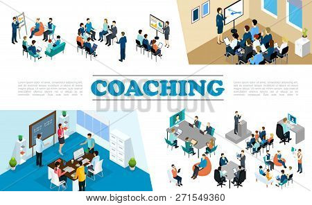 Isometric Staff Business Coaching Composition With People Take Part In Conference Personnel Training