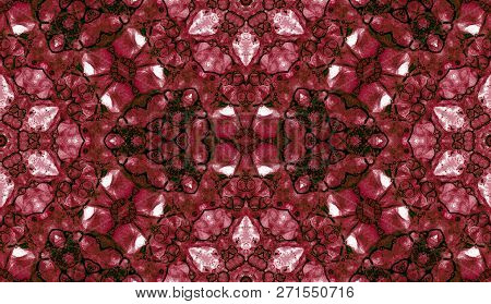 Red Seamless Pattern. Astonishing Delicate Soap Bubbles. Lace Hand Drawn Textile Ornament. Kaleidosc