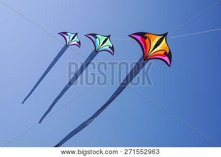 Beautiful Kites In A Kite Festival. Blue Sky