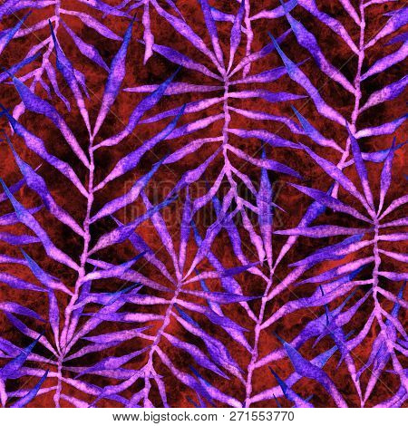 Tropical Seamless Pattern. Watercolor Thorny Palm Leaves, Japanese Bamboo. Red Exotic Swimwear Desig