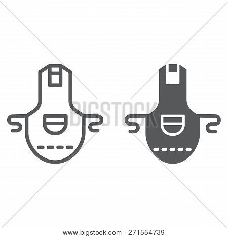 Apron Line And Glyph Icon, Clothing And Kitchen, Pinafore Sign, Vector Graphics, A Linear Pattern On
