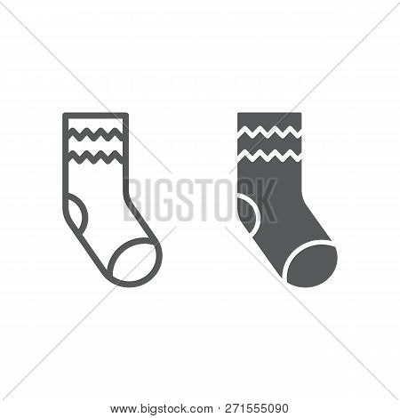 Sock line and glyph icon, apparel and clothing, hosiery sign, vector graphics, a linear pattern on a white background. poster