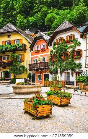 Street With Nice Austrian Village Houses, Austria.