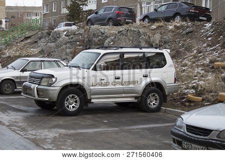 Kazakhstan, Ust-Kamenogorsk - 27 November, 2018. Toyota Land Cruiser Prado 90 in the parking lot. Toyota Land Cruiser Prado 90. Japanese car. SUV.