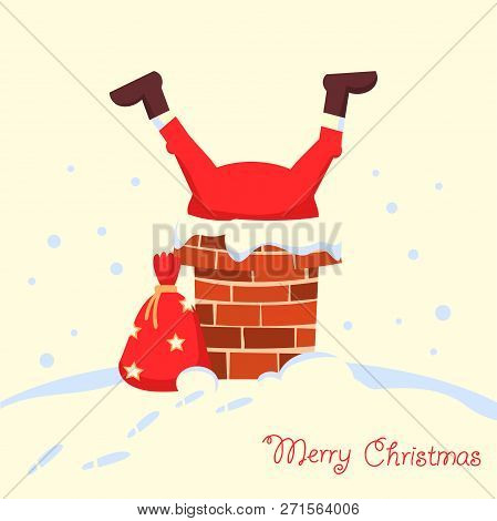 Santa Claus Stuck In The Chimney In The Christmas Holiday Night