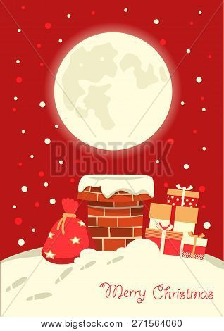 Santa Claus In The Chimney In The Christmas Holiday Winter Night. Vector Illustration