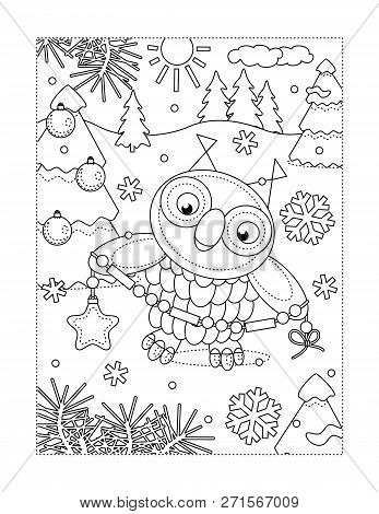 Winter Holidays Joy Themed Coloring Page With Owl Decorating Christmas Tree