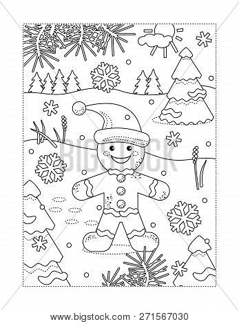 Winter Holidays Joy Themed Coloring Page With Happy Cheerful Ginger Man Walking Outdoor