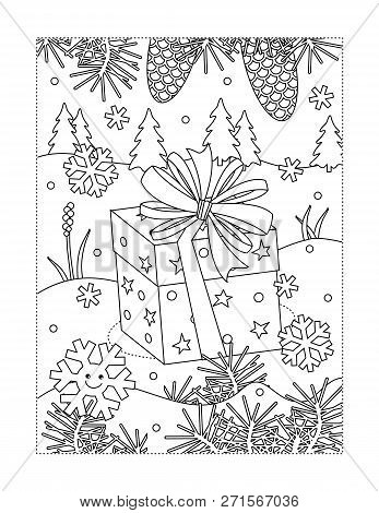 Winter Holidays Joy Themed Coloring Page With Holiday Present In Outdoor Scene