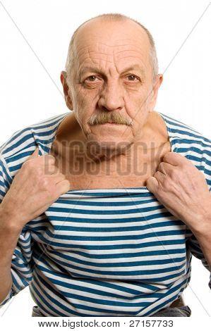 der ältere Mann in eine abgespeckte Weste
