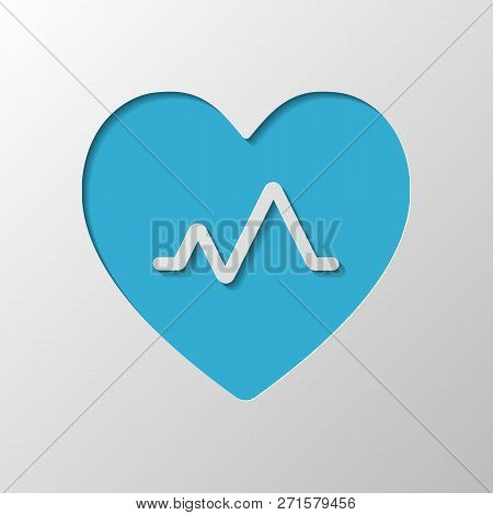 Cardiac Pulse. Heart And Pulse Line. Simple Single Icon. Paper Design. Cutted Symbol With Shadow