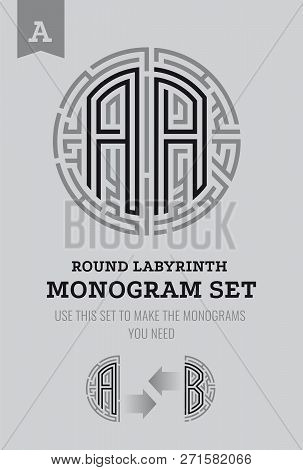 A Letter Maze. Set For The Labyrinth Logo And Monograms, Coat Of Arms, Heraldry, Abbreviation.