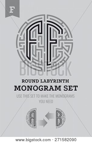 F Letter Maze. Set For The Labyrinth Logo And Monograms, Coat Of Arms, Heraldry, Abbreviation.